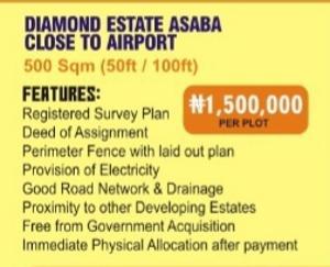 Mixed   Use Land Land for sale Diamond Estate Asaba close to Airport,Delta state Asaba Delta