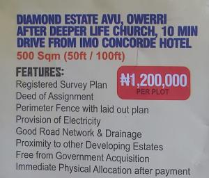 Mixed   Use Land Land for sale Diamond estate irate phase 2,owerri irete,Ndegwu road Owerri Imo