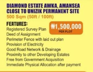 Mixed   Use Land Land for sale Diamond estate Awka,Amansea close to unizik permanent site,Anambra State Awka North Anambra