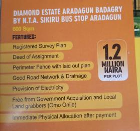 Residential Land Land for sale Diamond estate Aradagun by N. T. A sikiru bus stop Aradagun Lagos  Badagry Lagos