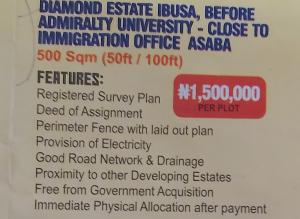 Mixed   Use Land Land for sale Diamond estate ibusa,before  Admiralty university,close to immigration office asaba,Delta state  Asaba Delta