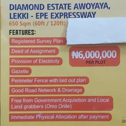 Mixed   Use Land Land for sale Diamond estate Awoyaya, lekki - epe Expressway Epe Road Epe Lagos