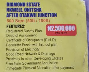 Mixed   Use Land Land for sale Diamond Estate Nkwele,onitsha after otakwii junction,Anambra state. Onitsha North Anambra