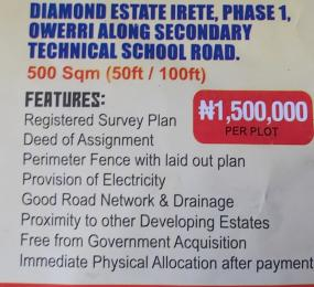 Mixed   Use Land Land for sale Diamond estate irete,phase 1 Owerri along secondary technical school road.Imo state Owerri Imo