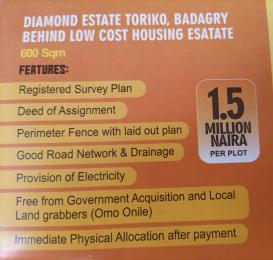 Residential Land Land for sale Diamond estate Toriko badagry behind low cost housing estate Lagos  Badagry Lagos