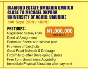 Mixed   Use Land Land for sale Diamond estate umuahia umuigu close to Michael okpara university of Agriculture,umudike Umuahia North Abia