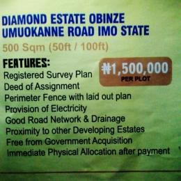 Serviced Residential Land Land for sale Diamond Estate Obinze Umuokanne Owerri Imo State  Orlu Imo