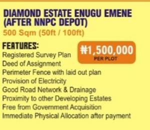 Mixed   Use Land Land for sale Diamond estate Enugu Emene(After Nnpc Deport),Enugu state Enugu Enugu
