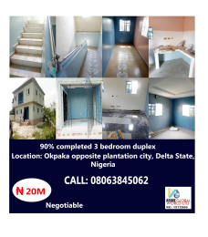 3 bedroom House for sale Okpaka, Opposite Plantation City Warri Delta