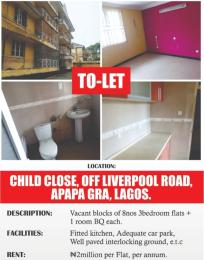 3 bedroom Blocks of Flats House for rent Child Close, off Liverpool road Apapa G.R.A Apapa Lagos