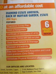 Residential Land Land for sale Diamond Estate Awoyaya Back Of Mayfair Garden Estate Lagos Ajah Lagos