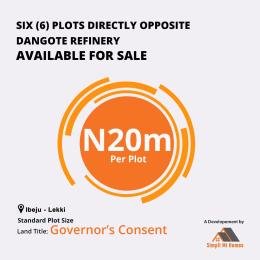 Commercial Land Land for sale Directly opposite Dangote Refinery  Free Trade Zone Ibeju-Lekki Lagos