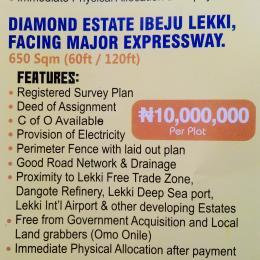 Commercial Land Land for sale Diamond Estate Ibeju Lekki Facing Major Expressway  Free Trade Zone Ibeju-Lekki Lagos