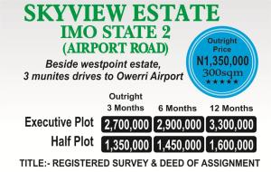 Residential Land Land for sale Beside westpoint estate. 3 munites drive to owerri airport  Owerri Imo