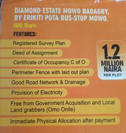 Residential Land Land for sale Diamond estate mowo badagry by erikiti pita bus stop wowo Lagos  Badagry Lagos