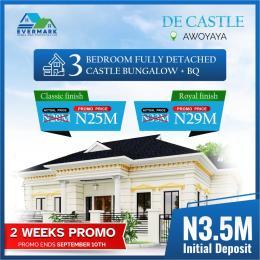 3 bedroom Detached Bungalow House for sale Oribanwa Bustop Awoyaya , 2min From Mayfair Gardens Awoyaya Ajah Lagos