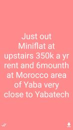 1 bedroom mini flat  Mini flat Flat / Apartment for rent Morocco  Yaba Lagos