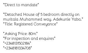 5 bedroom Detached Duplex House for sale Adekunle Yaba Lagos