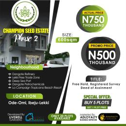 Serviced Residential Land for sale Ode Omi,8 Minutes Drive From Lacampaingne Tropicana Ibeju-Lekki Lagos