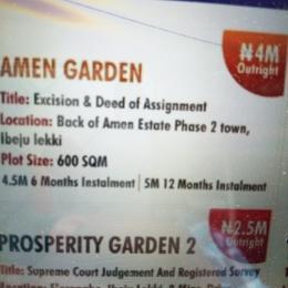 Residential Land Land for sale Back Of Amen Estate Phase 2 Town, Ibeju Lekki Ise town Ibeju-Lekki Lagos