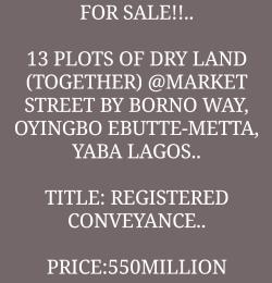 Commercial Land for sale Z Ebute Metta Yaba Lagos