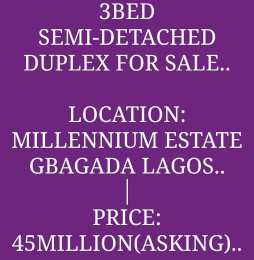 3 bedroom Semi Detached Duplex House for sale Millenuim/UPS Gbagada Lagos