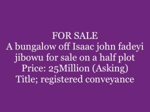 House for sale Isaac John  Jibowu Yaba Lagos