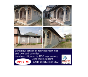 4 bedroom Detached Bungalow House for sale Uti Junction, By Dsc. express Warri Delta