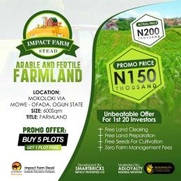 Commercial Land Land for sale Mokoloki via Mowe - Ofada , Impact Farm Stead Estate. Mowe Obafemi Owode Ogun