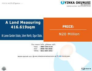 Land for sale At lonex Garden Estate, Isheri north, ogun state.  Isheri Egbe/Idimu Lagos