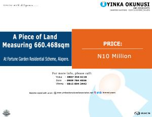 Land for sale At Fortune Garden Residential Scheme, Alapere.  Alapere Kosofe/Ikosi Lagos