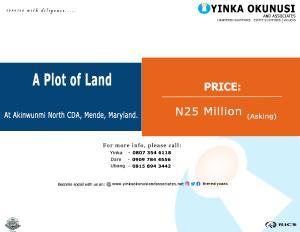 Land for sale At Akinwunmi North CDA Mende Maryland Lagos