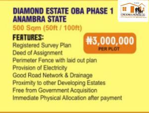 Mixed   Use Land for sale Diamond Estate, Behind Rojeny, Oba Idemili south Anambra