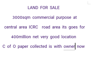 Commercial Land Land for sale Icrc Road Area Central Area Abuja