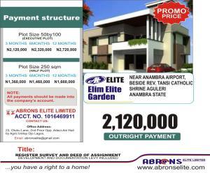 Land for sale ELIM ELITE GARDEN AGULERI CLOSE TO FAMOUS CATHOLIC SHRINE AGULERI AND ALSO VERY CLOSE TO THE NEW ANAMBRA CARGO AIRPORT.  Awka South Anambra
