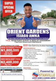 Commercial Land for sale Orient Gardens, Isiagu Awka Awka South Anambra