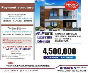 Residential Land Land for sale ELITE LUXURY VILLA EXTENSION ,BACK OF CENTINARY LIFE ESTATE  INDEPENDENCE LAYOUT PHASE 2  Enugu Enugu