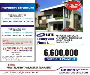 Residential Land for sale Elite Luxury Villa Phase 1, Adjacent To Indepence Layout Phase 2 Enugu. Enugu Enugu