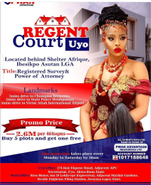 Residential Land Land for sale Regent Court behind shelter afrique Ibesikpo Asutan Akwa Ibom
