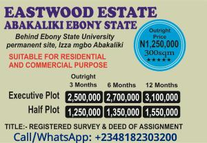 Serviced Residential Land Land for sale Behind Ebonyi state university,  Izza mgbo, Abakiliki  Abakaliki Ebonyi