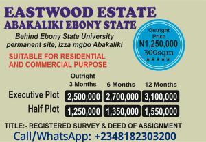 Serviced Residential Land Land for sale Behind Ebonyi state university,  Izza mgbo, Abakiliki  Abakaliki Ebonyi
