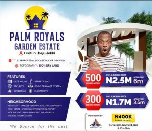 Residential Land for sale Palms Royals Garden Estate, Orofun Town Free Trade Zone Ibeju-Lekki Lagos