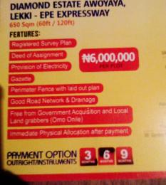 Mixed   Use Land Land for sale Diamond Estate Awoyaya, Lekki Epe Expressway  Awoyaya Ajah Lagos