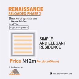 Residential Land Land for sale Renaissance Reloaded phase1 co-operative villa badore  Badore Ajah Lagos