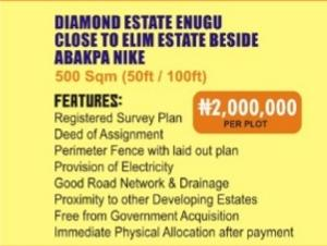 Mixed   Use Land Land for sale Diamond estate Enugu,close to Elim estate beside,Abakpa Nike  Enugu Enugu