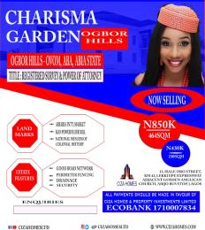 Residential Land Land for sale Charisma Garden Estate In Ogbor Hills Ovom Aba Abia