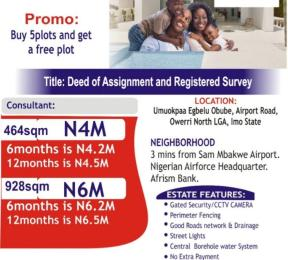 Mixed   Use Land Land for sale 3 minutes from Sam Mgbakwe Airport Road Owerri Imo