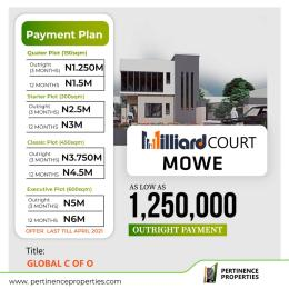 Serviced Residential Land Land for sale Milliard Court Mowe With Global C of O Buy and Build  Arepo Ogun