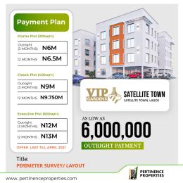 Residential Land Land for sale Vip Gardens Ojo Buy And Build With Parameter Survey And Layout Satellite Town Amuwo Odofin Lagos