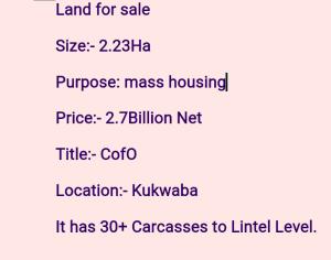 Residential Land for sale Kukwuaba Kaura Kukwuaba Abuja